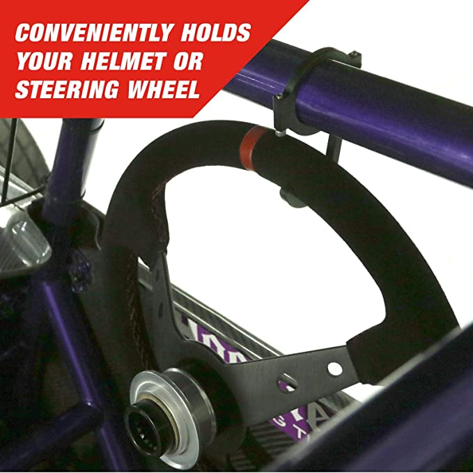Blue Helmet and Steering Wheel Hook