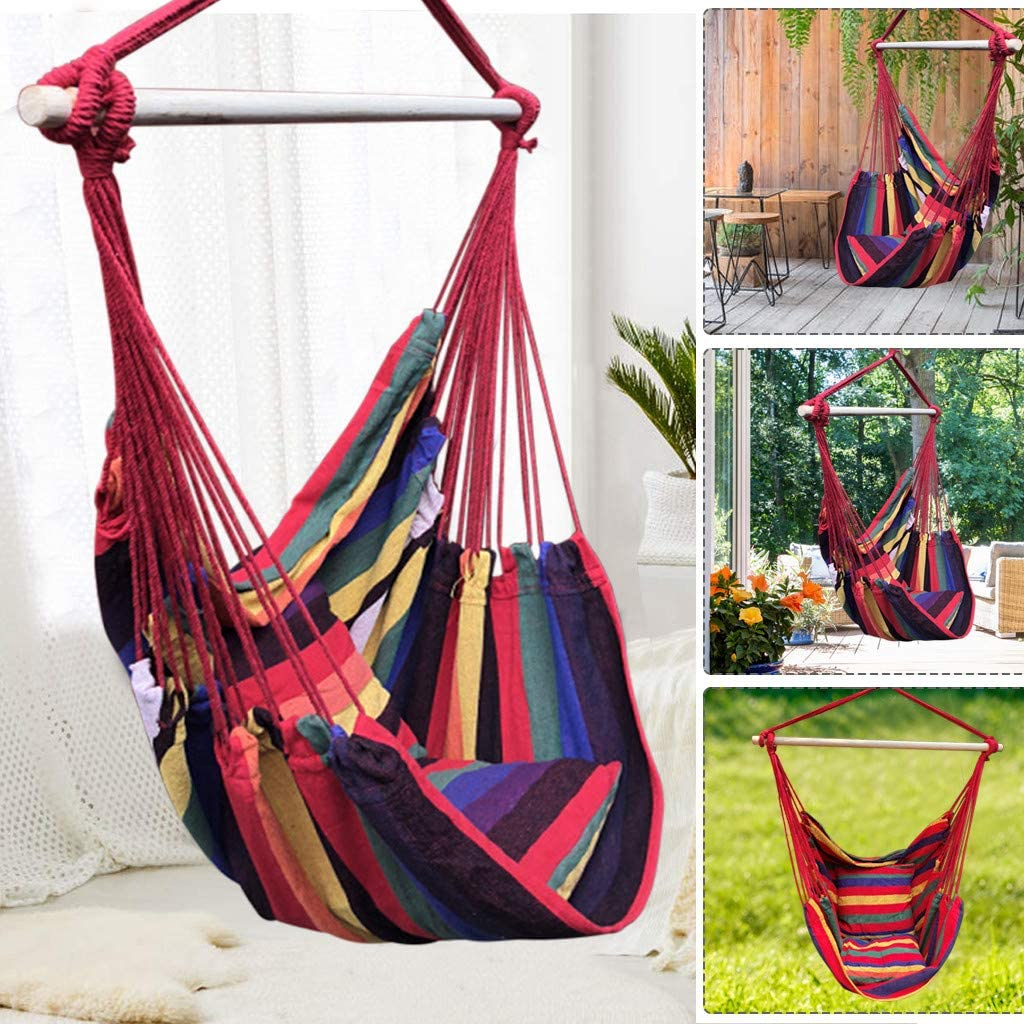Hanging Rope Swing Hanging Chair with Cushions