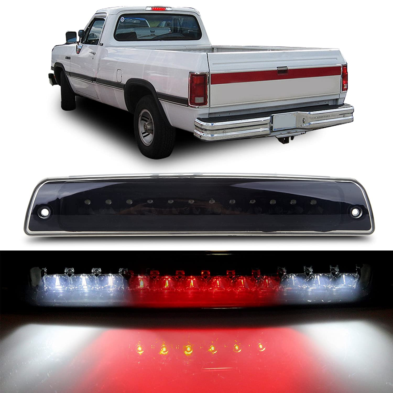 cciyu High Mount Brake Light Replacement fit for 1994-2001 Dodge Ram 1500 2500 3500 Pickup LED 3rd Brake Light Cargo Lamp (Smoke) 121903-5210-1659481