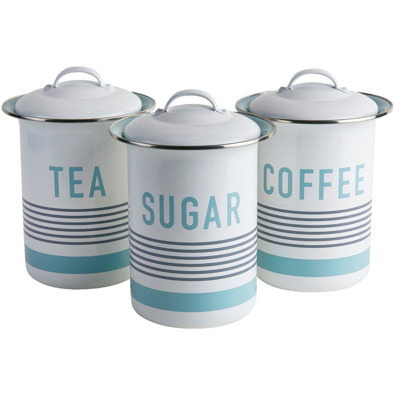 Jamie Oliver Vintage Tea/Coffee and Sugar Tins/Canisters Set, Harbour Blue