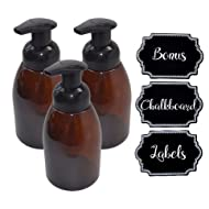 3 Pack Firefly Craft Amber Plastic Foaming Bottles with Chalkboard Labels, 14 ounces each