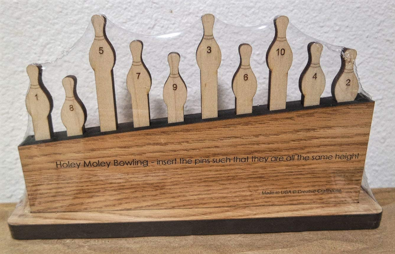Holey Moley Bowling Pins Puzzle - arrange all pins such that they are the same height