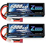 Zeee 6000mAh 80C 2S 7.4V Lipo Battery Hardcase with Deans Connector for 1:8 Scale RC Car, RC Airplane, RC Helicopter, RC Boat (2 Pack)