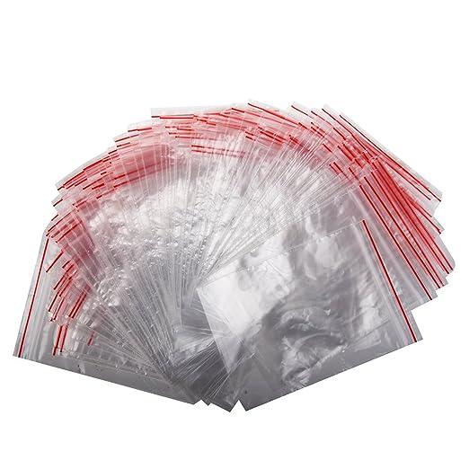 SODIAL 100 pcs de Bolsita Transparente de Plastico Con cierre bolsa de ziploc 7*10CM