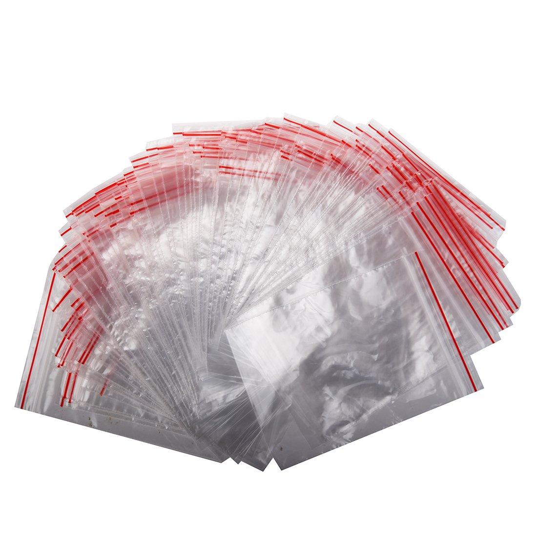SODIAL(R) 100Pcs Ziplock Lock Zipped Poly Clear Bags Plastic Zip 7*10CM