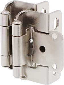 "DecoBasics 1/2"" Overlay 3/4"" Frame Partial Semi Wrap Cabinet Hinge, Satin Nickel (25 Pairs Pack /50 Pcs)"
