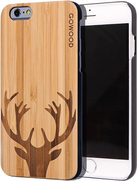 GOWOOD Coque en bois pour iPhone 6/6S | véritable bambou cerf gravé plaque arrière en bois avec protection en polycarbonate et revêtement en ...