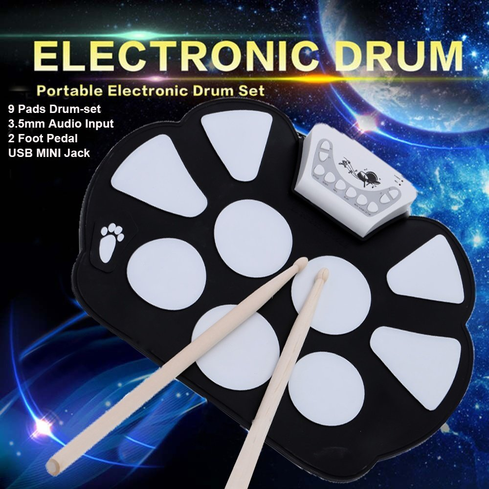 Portable 9 Pad Electronic Roll up Drum Pad Kit Silicon Foldable Musical Instrument Electronic Kit with Stick Gesum Pro 9 Pads Electronic Roll Up MIDI Drum Kit Electric Drum Pads with Stick by GESUM