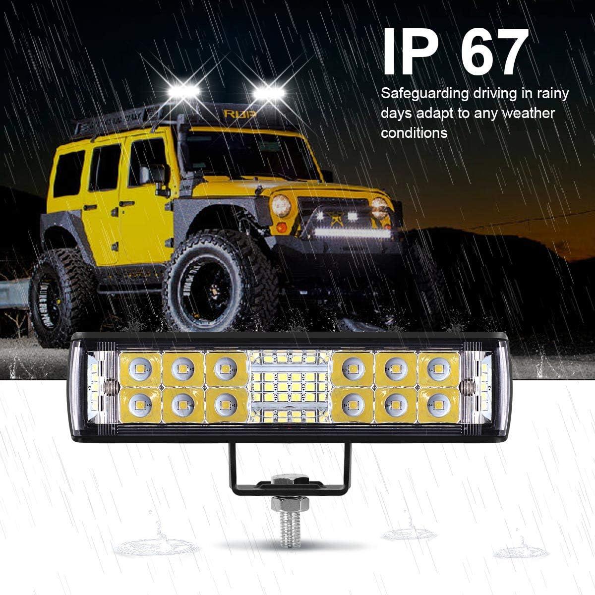 Kawell 12V LED Light Bar 2PCS 36WLed Pods Flood Spot Off Road Driving Fog Lights for Trucks Boat ATV