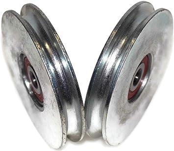 Rueda de polea para puerta corredera R90-8-10 (2 unidades, 90 mm, forma de U, rodamiento de 8 mm y 10 mm): Amazon.es: Bricolaje y herramientas