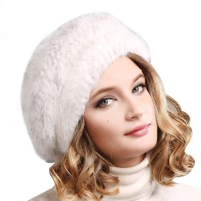 FURTALK Damen Winter aus sehr warm weich Material Nerzpelz mit Berets Stil Berets Mütze Pelzmütze Strickmütze