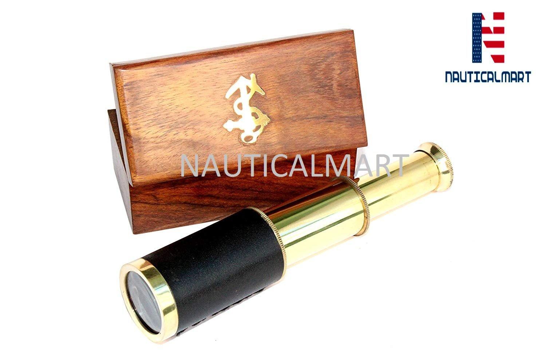 NAUTICALMART Nautical Brass Spyglass Telescope with Box, Brass (Black)