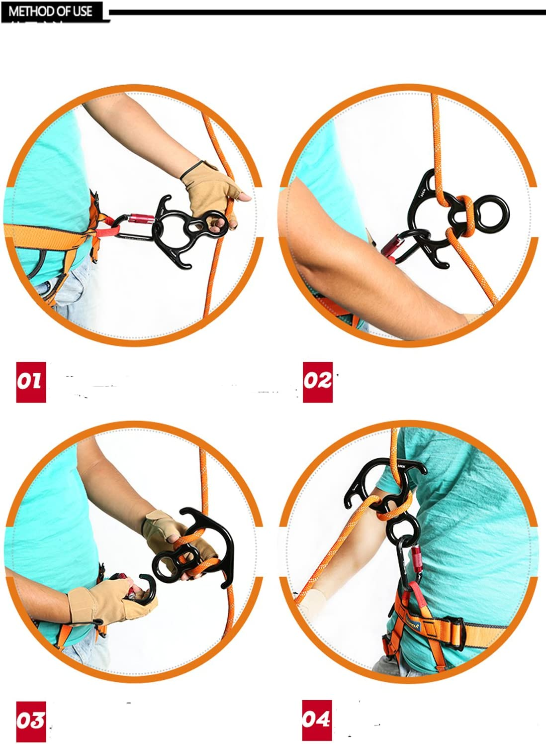 HI SUYI 35KN Terminal Rescue Figure 8 Descender with Bent-Ear Rappelling Gear Belaying Device for Outdoor Rock Climbing Blue