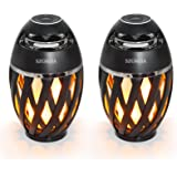 2-Pack Led Flame Speakers, SZGMJIA Flame Torch Atmosphere Speaker Bluetooth 4.2 Wireless Portable Outdoor HD Audio Waterproof