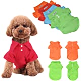 KINGMAS 4Pcs Pet Dog Puppy Polo T-Shirt Clothes Outfit Apparel Coats Tops