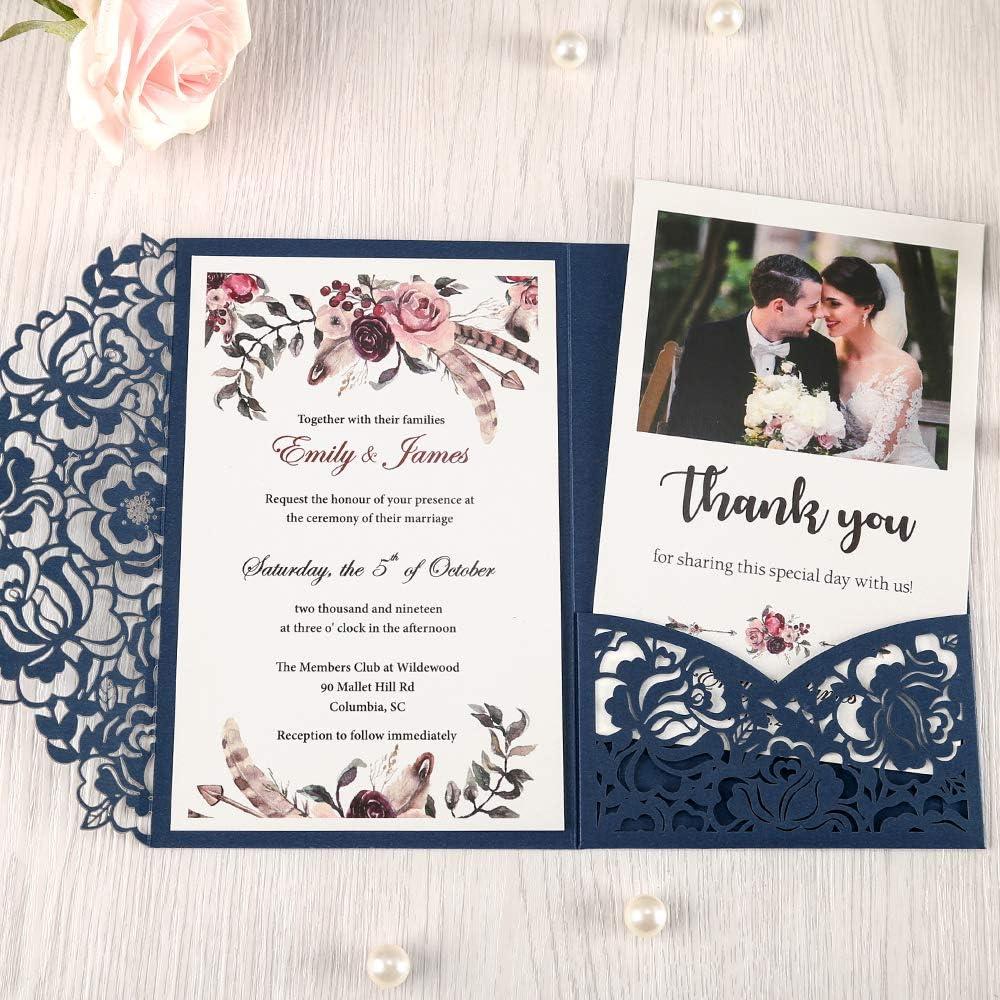 B07MX7B4VN DORISHOME 4.7x7 Inch 50PCS Blank Navy Blue Wedding Invitations Kits Laser Cut Hollow Rose Pocket Wedding Invitations with Envelopes For Wedding Bridal Shower Engagement Invite 71pEvAJJayL