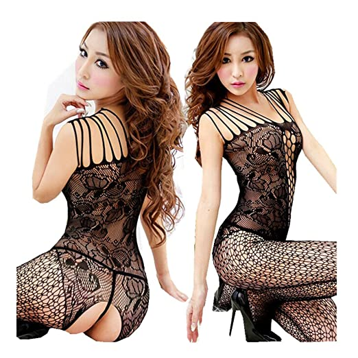 01d287fd84c Woaills Woman Sexy Open Crotch Mesh Fishnet Stocking Lingerie Bodystocking  (Black