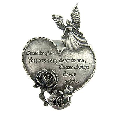 Fine Pewter Grandaughter Drive Safely Guardian Angel Heart Visor Clip, 2 3/4 Inch: Automotive