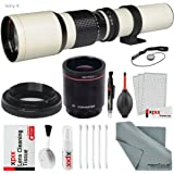 Super-Powered 500mm/1000mm f/8.0 Telephoto Lens (White) with 2X Professional Multiplier for Sony A Mount Digital SLR Cameras