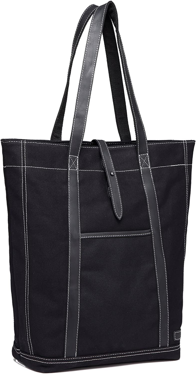 Leather Canvas Tote,Vaschy Water Resistant Vintage Large Shopper Work Tote for Women
