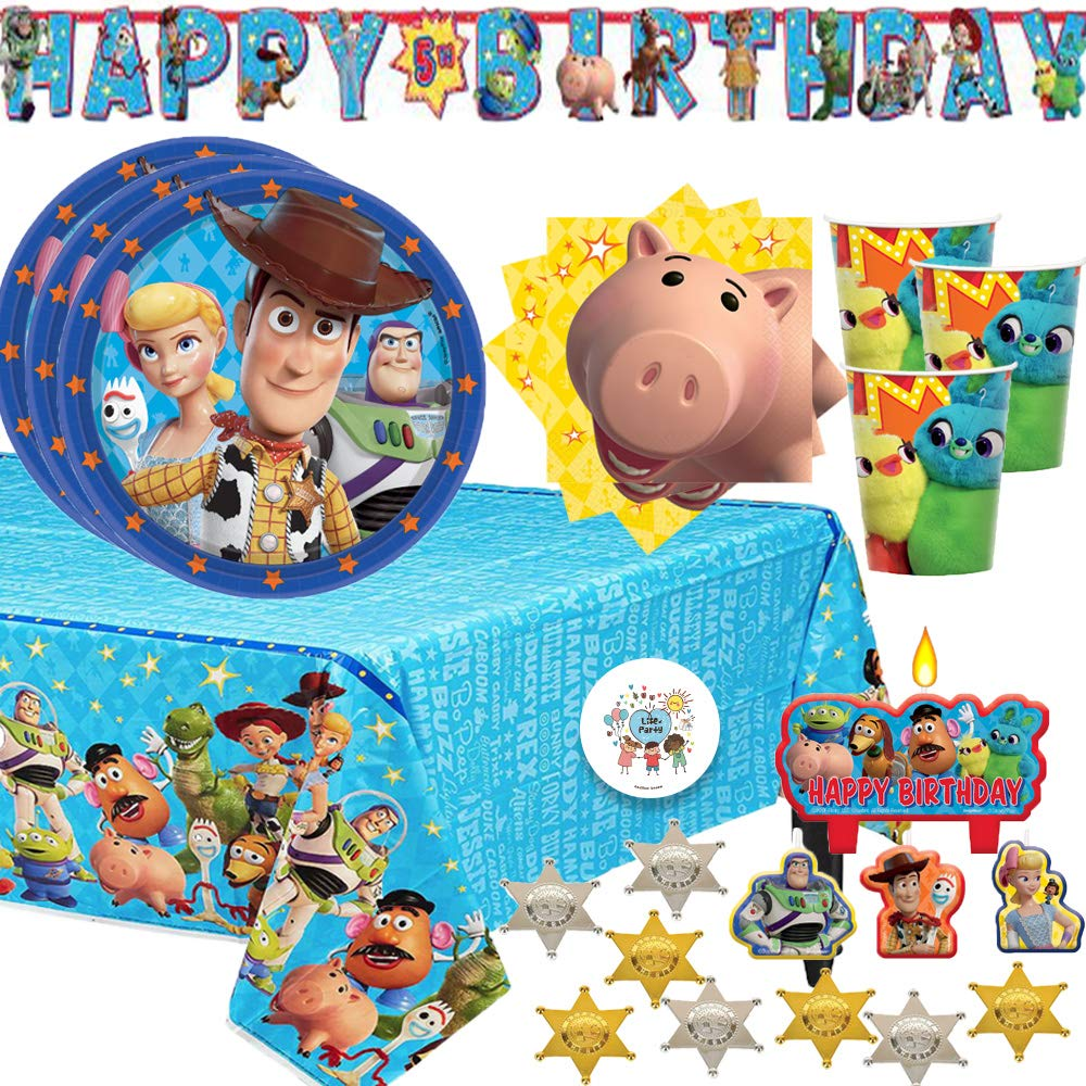 Toy Story 4 Birthday Party Supplies Pack For 16 With Toy Story Plates, Napkins, Cups, Birthday Candles, Tablecover, Add An Age Birthday Banner, 12 Sheriff Badges, and Exclusive Pin