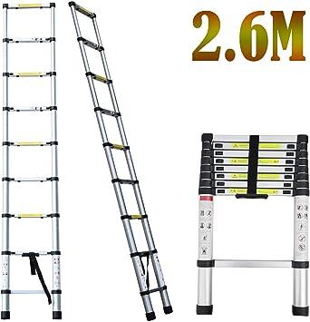 2018 Nuevo diseño Escalera telescópica multiusos de aluminio Escalera plegable portátil Extensión extensible (2.6M): Amazon.es: Bricolaje y herramientas