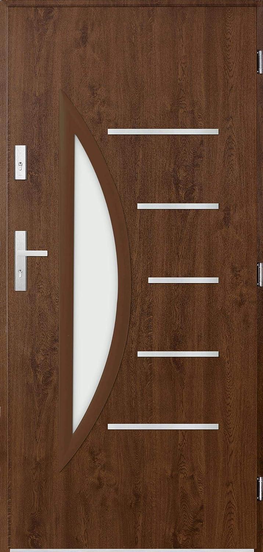 Centaurus - Glass Exterior Doors for Home/Modern Front Entry Doors/Metal Door (Walnut)