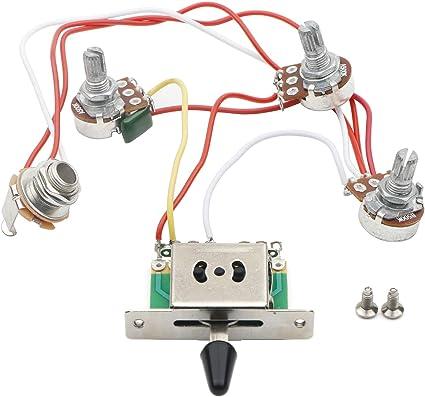 wiring control for guitars amazon com jiuwu strat guitar wiring harness prewired 3x 500k  jiuwu strat guitar wiring harness