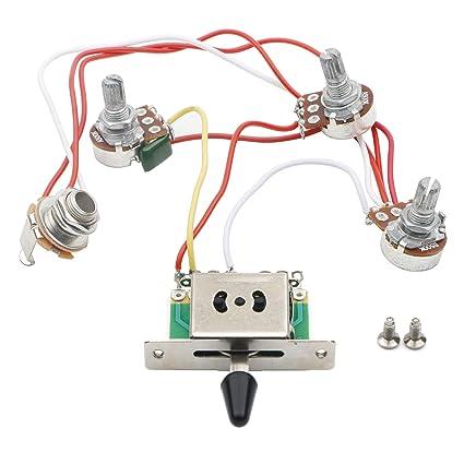amazon com jiuwu strat guitar wiring harness prewired 3x 500k potsamazon com jiuwu strat guitar wiring harness prewired 3x 500k pots 1 volume 2 tone control knobs 5 way switch musical instruments