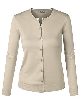 BIADANI Women Round Neck Button Down Soft Classic Knit Cardigan Sweater  Ivory Small 6baa8560a