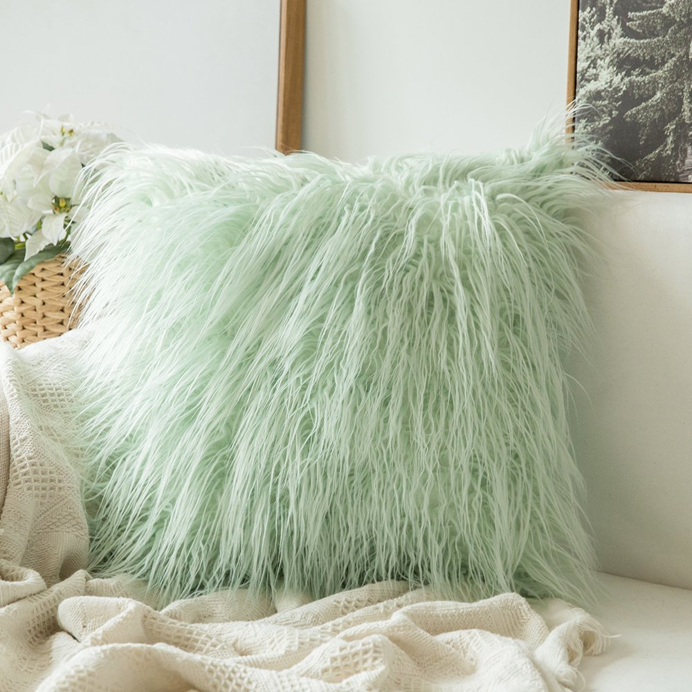 MIULEE Decorative New Luxury Series Style Green Faux Fur Throw Pillow Case Cushion Cover for Sofa Bedroom Car 24 x 24 Inch 60 x 60 cm