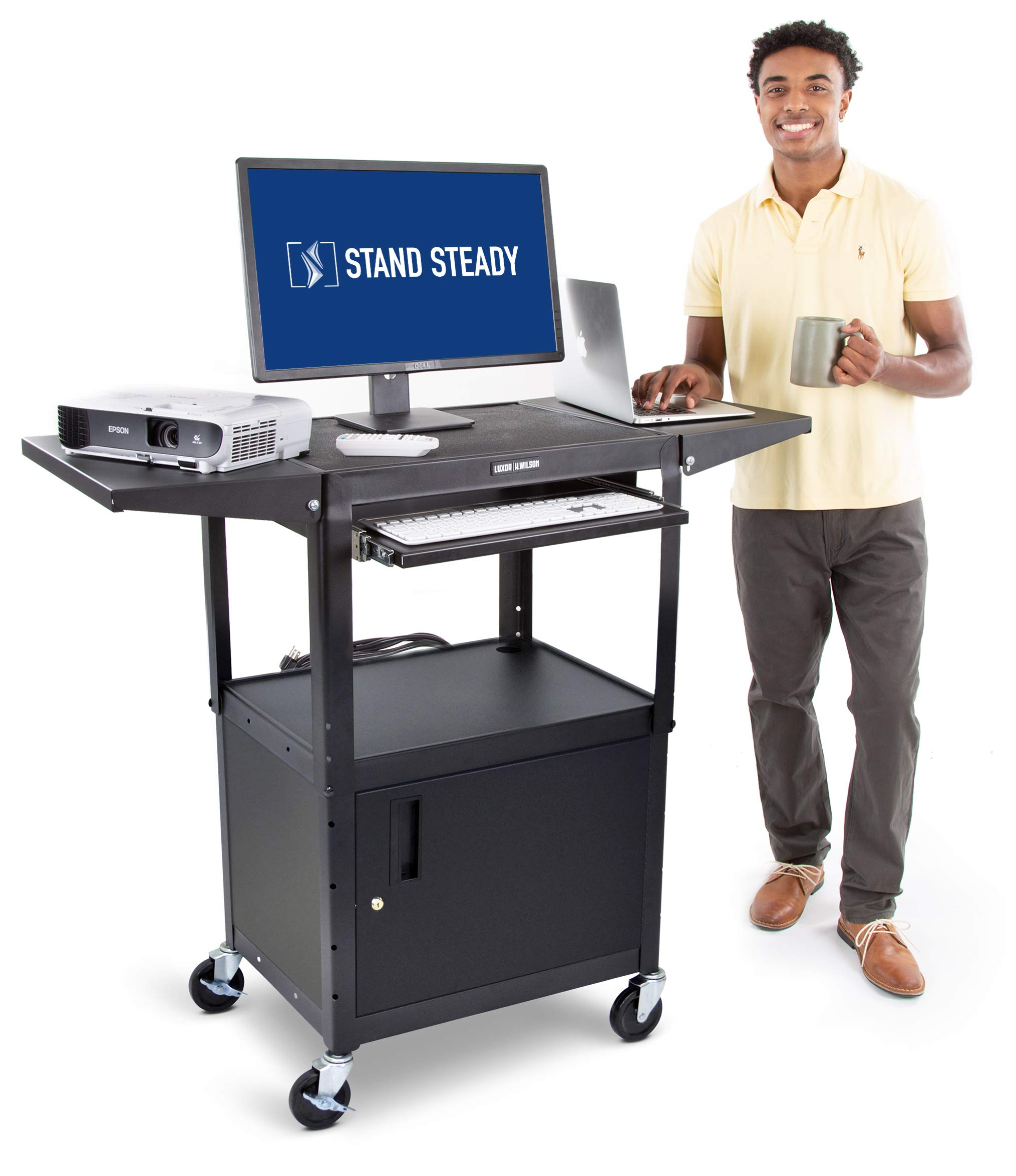 Line Leader AV Cart with Locking Cabinet and Drop Leaves | Height Adjustable Utility Cart with Extra Storage | Power Strip and Cord Management | Great for Presentations! (Black / 46'' x 18'') by Stand Steady (Image #1)