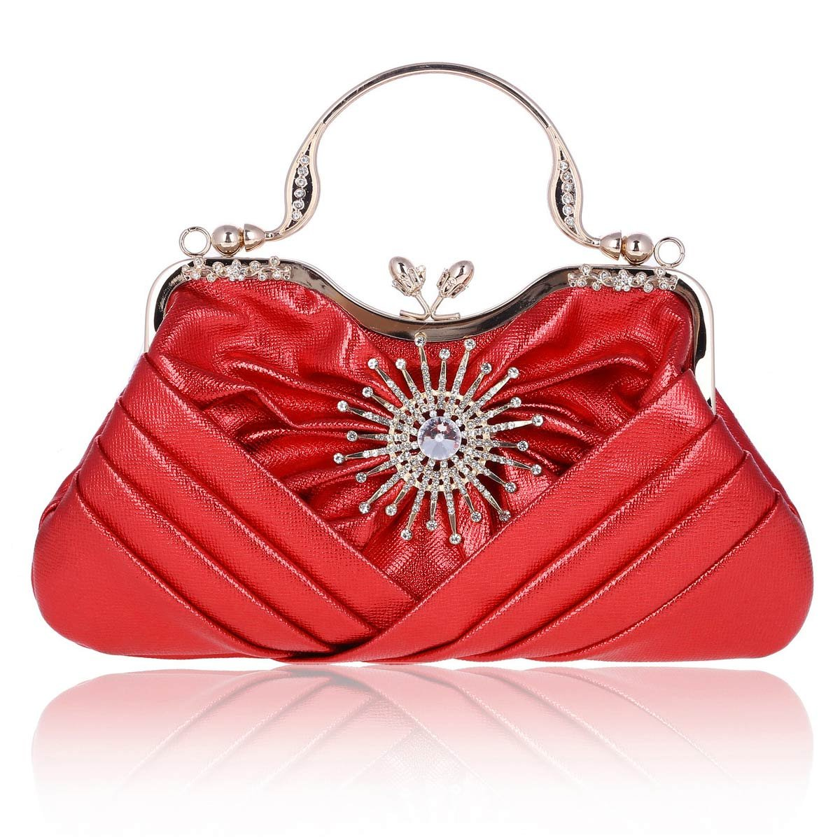 Damara Womens Sunflower Crystal Front Pleated Evening Tote Bag,Red by Damara