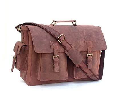Image Unavailable. Image not available for. Color  A C 18 inch Retro Buffalo  Hunter Leather Laptop Messenger Bag Office Briefcase College Bag 8e9be880ffddb