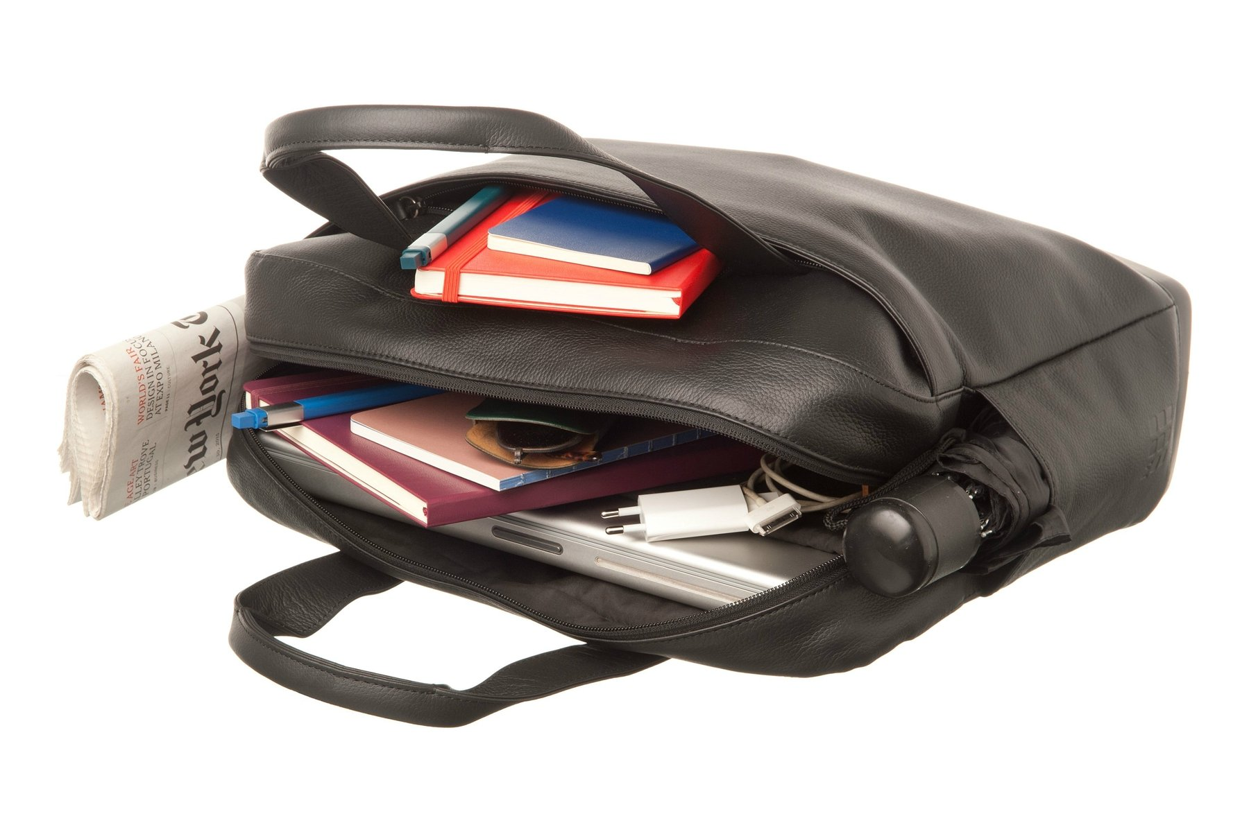 Moleskine Classic Leather Utility Bag, Black, For Work, School, Travel, and Everyday Use, Space for Tablet Laptop and Chargers, Notebook Planner or Organizer, Padded Adjustable Straps, Secure Zipper by Moleskine (Image #4)