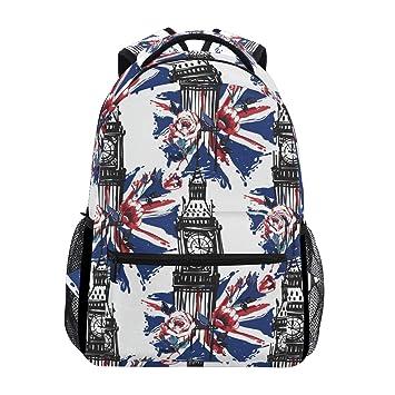 1d3d1184489d JOYPRINT Backpack England London Big Ben UK Flag School Shoulder Bag  Daypack Travel Hiking for Boys