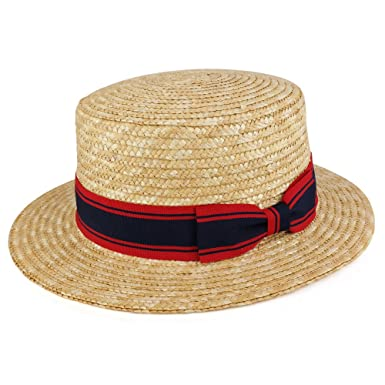 22a108bd3a6 Trendy Apparel Shop Natural Colored Straw Boater Hat With Striped Hat Band  - Natural at Amazon Men s Clothing store