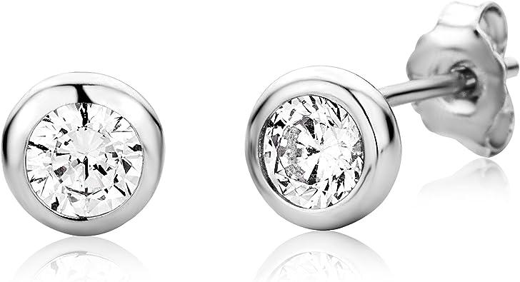 Miore Ohrringe Damen Solitär Ohrstecker aus 925 Sterling Silber mit Rundschliff Zirkonia Steine, Ohrscmuck
