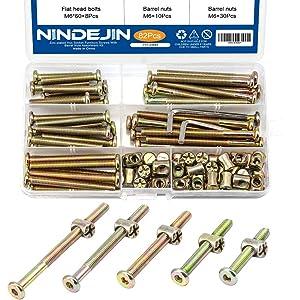 NINDEJIN 82Pcs Set Hex Socket Flat Head Wood Furniture Screws Barrel Nuts M6 Zinc Plated Baby Crib Screw Hardware Assortment Kit for Crib Chairs Furniture Beds