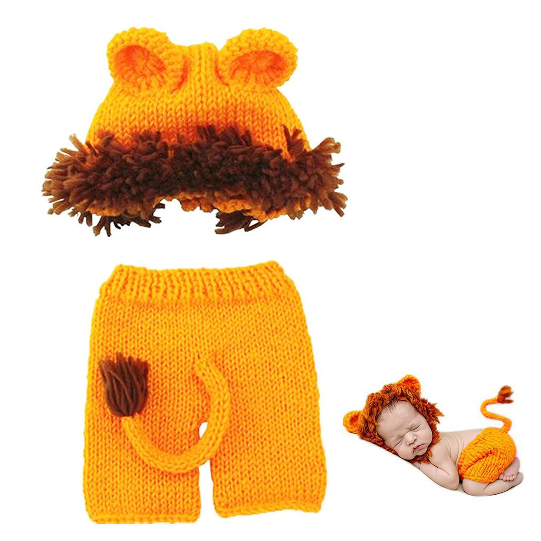 MSFS Baby Baby Crochet Knitted Photo Photography Props Handmade Baby Hat Diaper Outfit