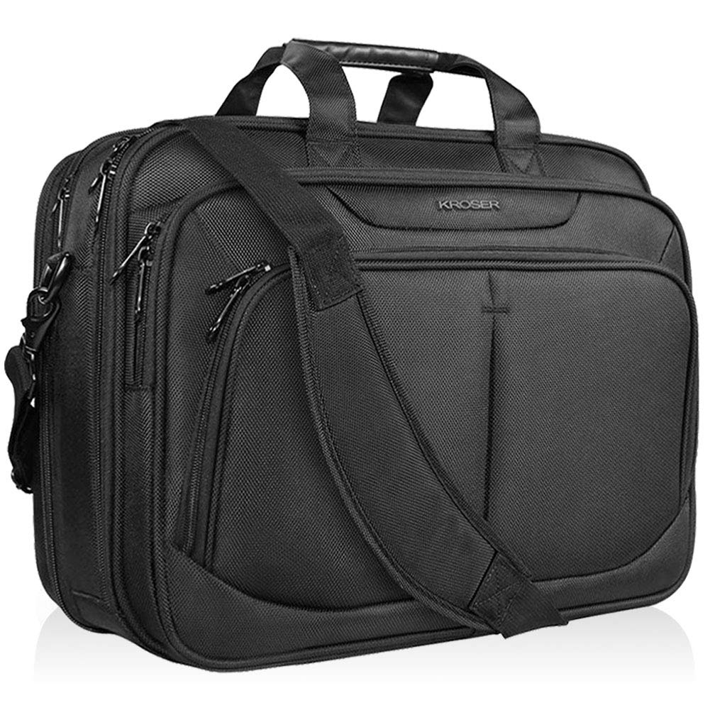 KROSER 17.1'' Laptop Bag Fits Up To 17 Inch Laptop Briefcase Water-Repellent Expandable Computer Bag Business Messenger Bag Shoulder Bag for School/Travel/Women/Men