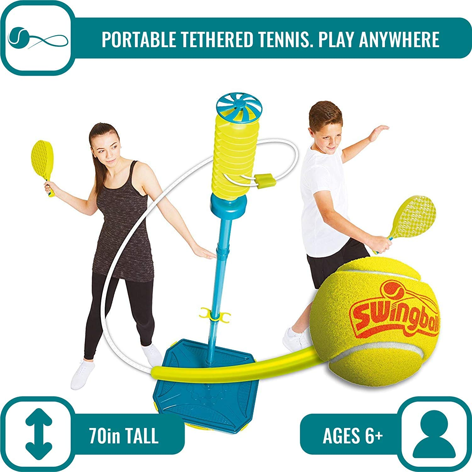 PRO Swingball – All Surface Portable Tether Tennis Set – Ages 6+ : Sports & Outdoors