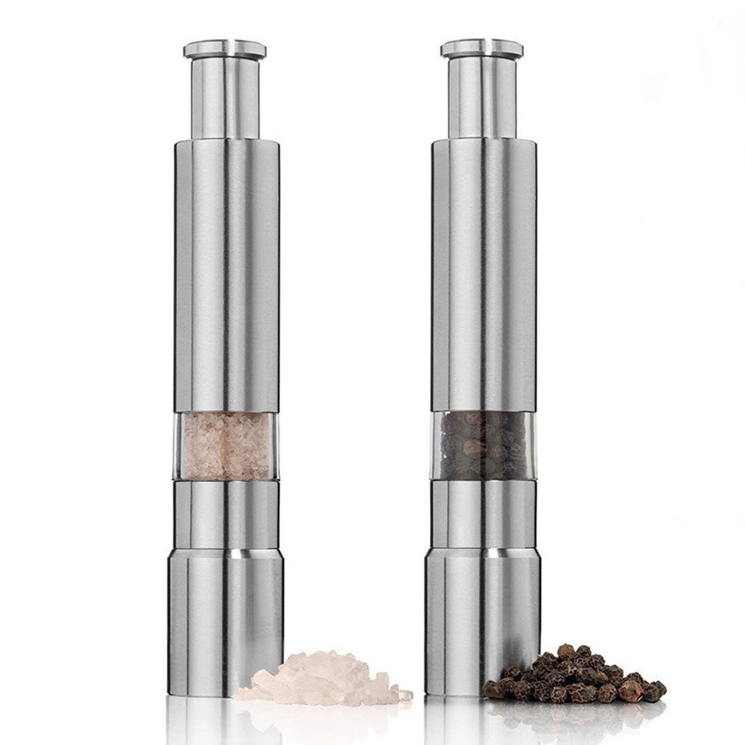 Salt and Pepper Grinder Set Gourmet Original Pump and Stainless Steel and Acrylic One Hand Operation Grind Herb or Spice Cooking Gadgets Grinder Set