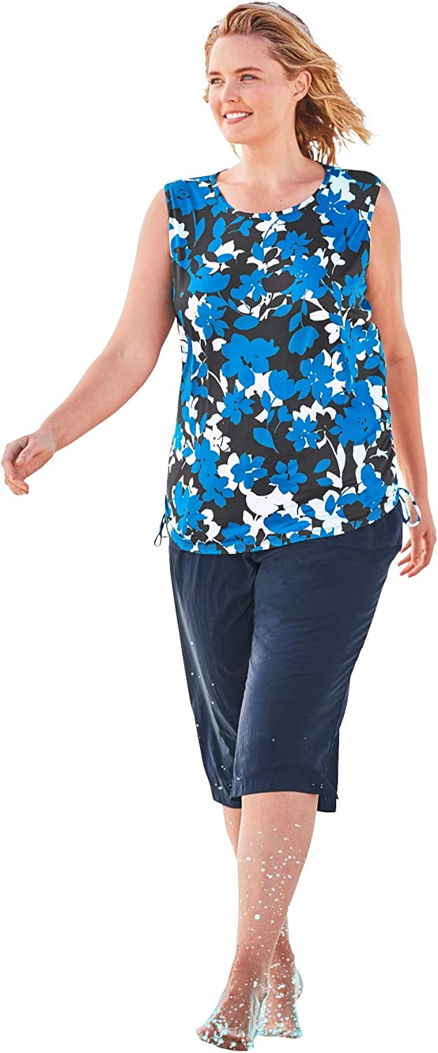 Swimsuits For All Womens Plus Size Swim Tank Coverup with Side Ties