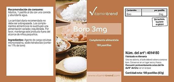 Boro 3mg – Boron – ¡Bote para 6 MESES! – vegano – sin estearato de ...
