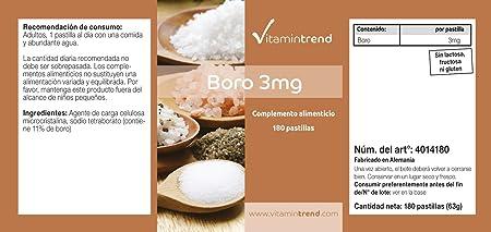 Boro 3mg - Boron - ¡Bote para 6 MESES! - vegano - sin ...