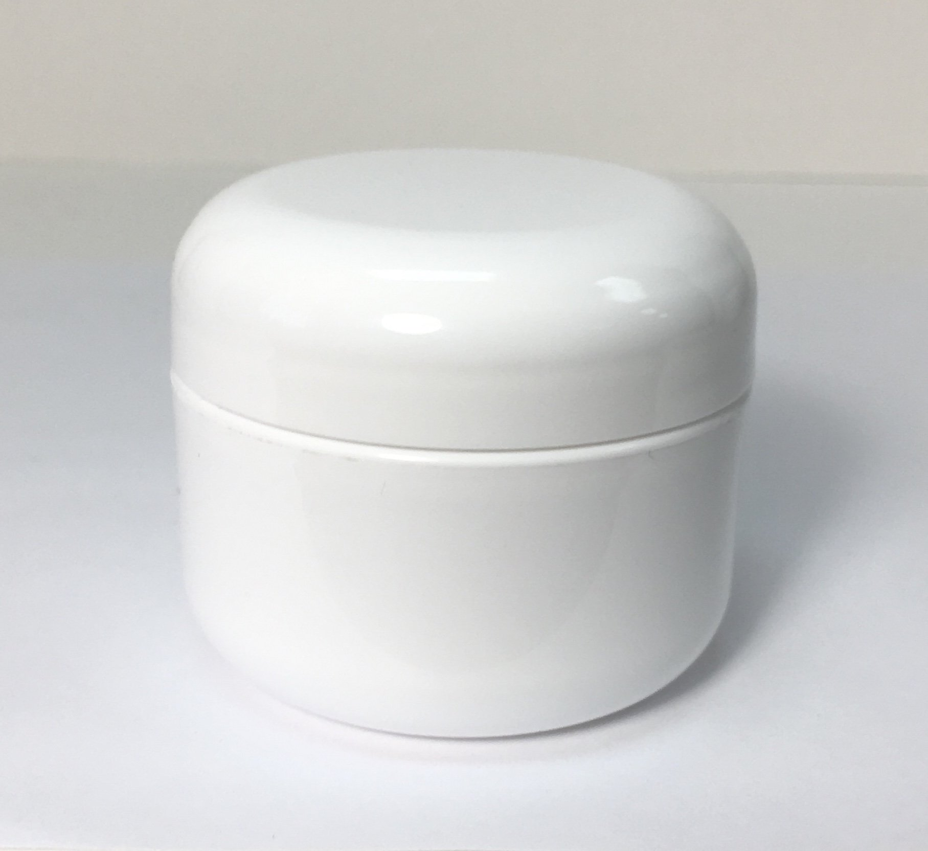 1oz Double Wall Round-Base White Plastic Jar with Foil Lined Dome Lid