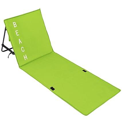 TecTake Gepolsterte Strandmatte mit Verstellbarer Rückenlehne und praktischem Tragegurt - Diverse Farben -