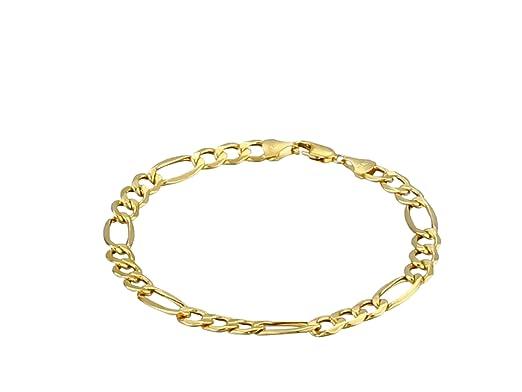 Amazon Com Men S 10k Yellow Gold Hollow Figaro Bracelet 8 5 7 5