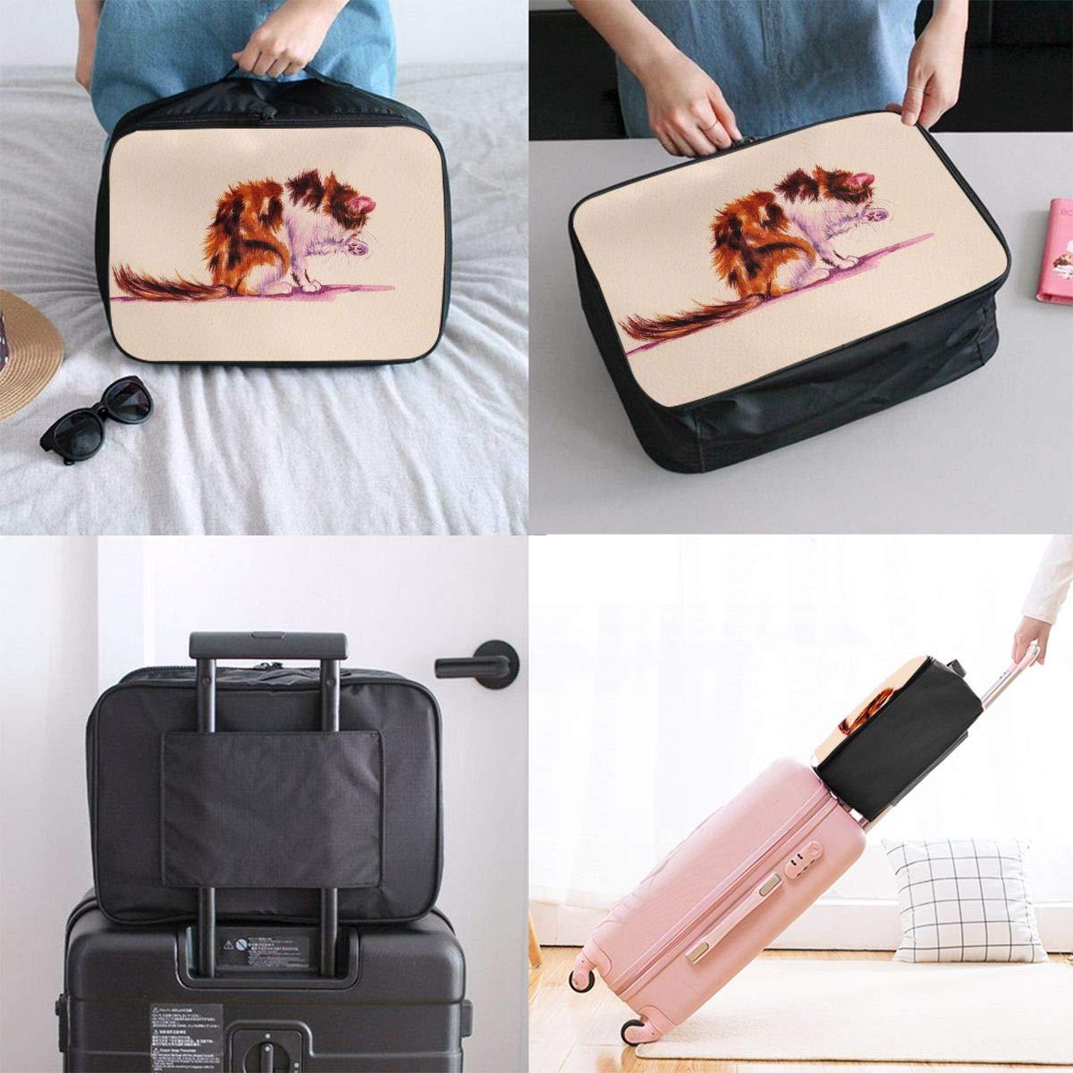 Travel Luggage Duffle Bag Lightweight Portable Handbag Cat Kitten Large Capacity Waterproof Foldable Storage Tote
